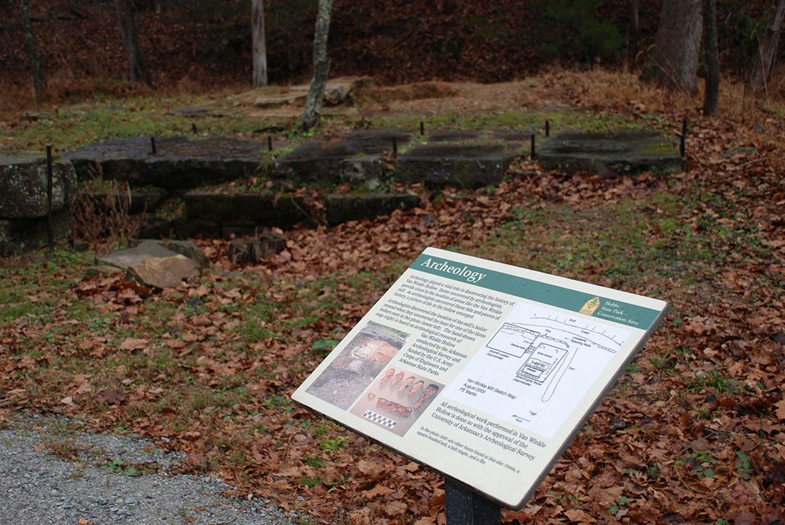 Signage along the Historic Van Winkle Trail at Hobbs State Park–Conservation Area.