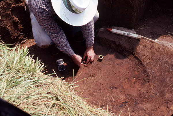 Dan Wolfman collecting an archaeomagnetic sample.
