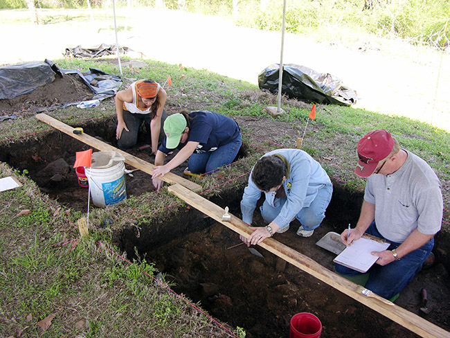 University of Arkansas – Fort Smith students participate in excavations at the Drennen-Scott Historic Site as part of their Introduction to Archeology class.