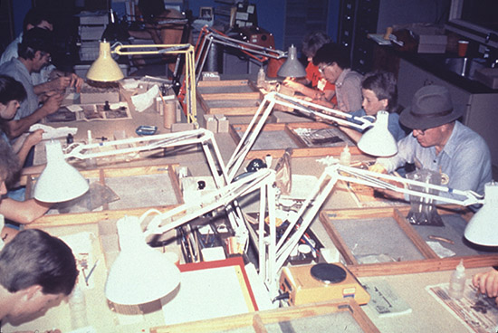 Artifact lab at the 1989 training program at Toltec Mounds.