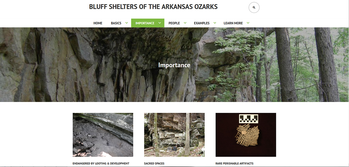 A landing page for the new Bluff Shelters of the Arkansas Ozarks webpage.