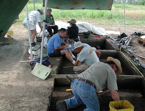 Units being excavated by Society volunteers at Eaker in 2006.