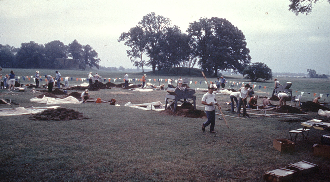 Excavations in progress during the 1990 Arkansas Archeological Society Training Program at Toltec Mounds Archeological State Park near Scott.
