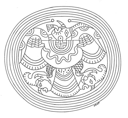 "Depiction of an engraved ""birdman"" gorget said to have been found at 3CG41. Stylistically, the gorget suggests long-distance trade and communication with Spiroan and other contemporaneous cultures."