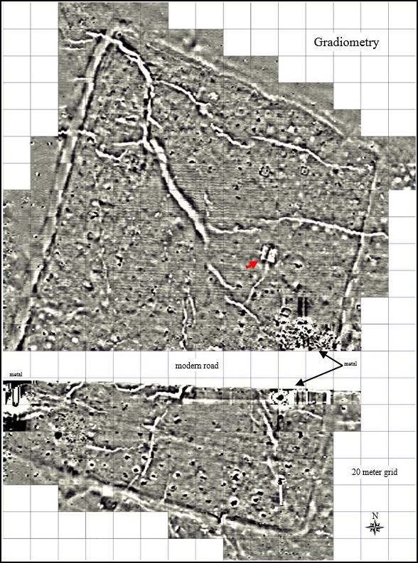 Most of the 18-acre fortified site was surveyed using a fluxgate gradiometer to map and identify structures and other archeological features.