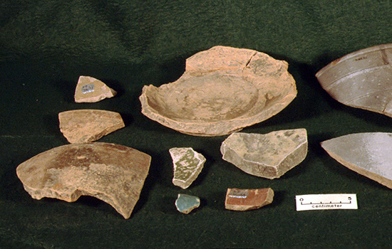 Coarse earthenware vessel fragments from Arkansas Post National Memorial cataloged by the Arkansas Archeological Survey for the National Park Service.