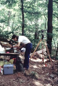 Jerry Hilliard supervising excavations at the Petroglyph Shelter, Spradley Hollow.