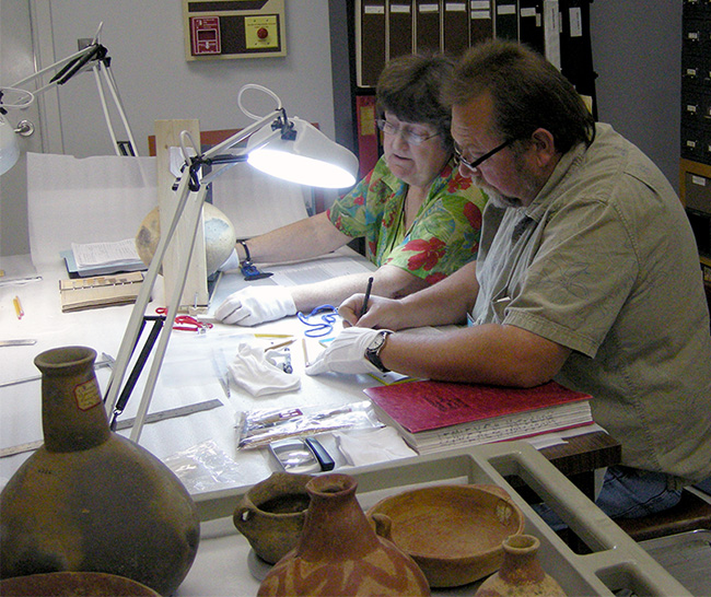 State Archeologist Dr. Ann Early and Caddo Tribal Historic Preservation Officer Robert Cast documenting Carden Bottoms vessels at the Gilcrease Museum.
