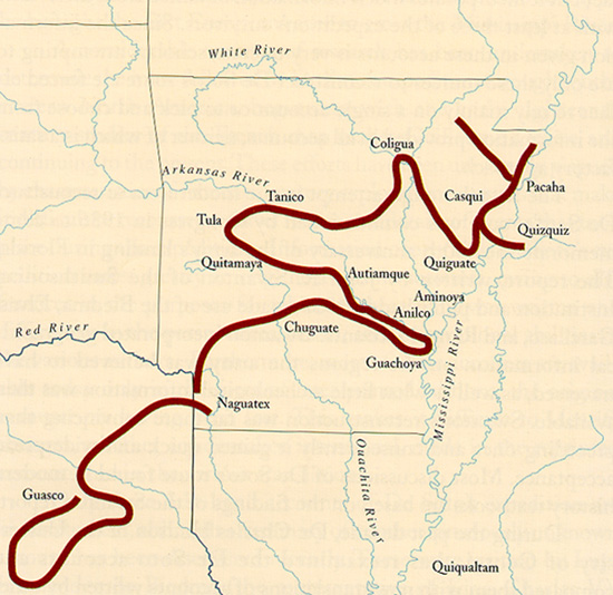 Map of Hernando de Soto's route through Arkansas.