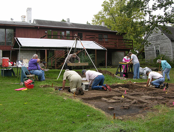 Excavations in the detached kitchen area of the Drennen-Scott Historic Site.