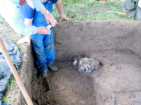 The base of the possible cross excavated at the Parkin site. Photo courtesy of Jessica Fleming Crawford, The Archaeological Conservancy.