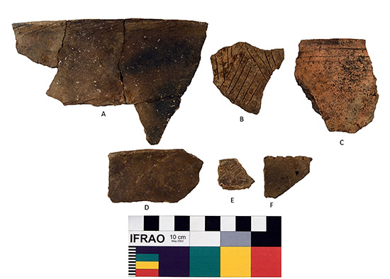 Decorated Rim Sherds: A-B: Class A Incised, C: Class E Engraved, D: Class A Very Lightly Incised, E: Class A Incised, F: Class C Rim Notched