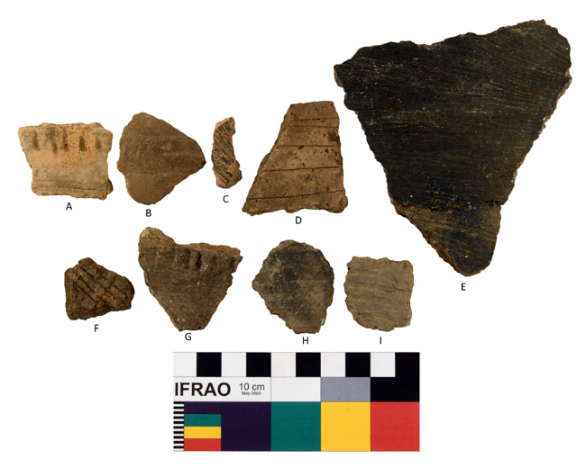 Decorated Body Sherds: A: Class C Punctated-Incised, B: Class E Engraved/Excised, C: Class A Incised, D: Class B Incised, E: Class D Brushed, F: Class A Incised, G: Class C Punctated-Incised, H-I: Class B Trailed