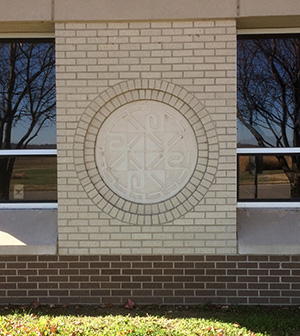 The Arkansas Archeological Survey's new logo was incorporated into the building façade.
