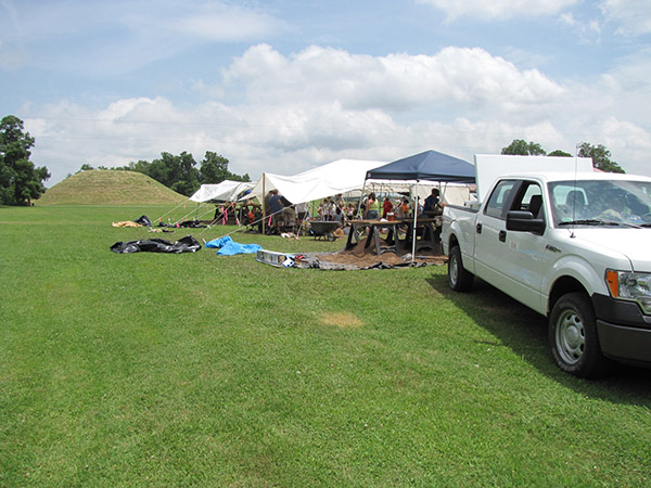 Mound D excavations during the 2010 Arkansas Archeological Society Training Program. Mound B is in the background.