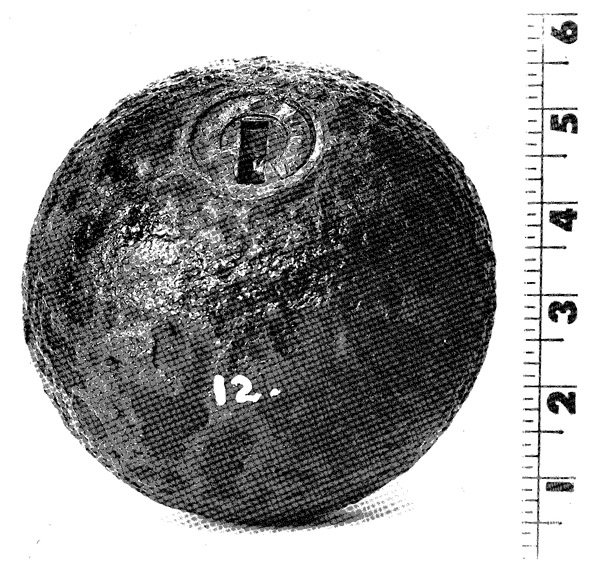 The artillery fragment came from a 24-pounder howitzer cannonball like the one pictured here. Finding this ammunition proves that Landis's Missouri Battery (or a portion of it) participated in the Battle of Pea Ridge.
