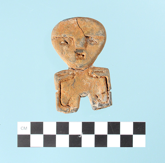 Found by Bill Parker of Pine Bluff in 1978, this figurine is 72mm in length with a maximum width of 42mm and average thickness of about 11mm. It has a rectangular cross section.
