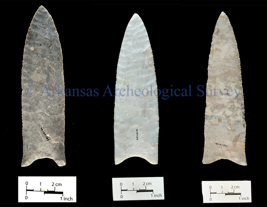 Figures 3–5. Other Daltons from the Sloan site. Copyright Arkansas Archeological Survey. Do not reproduce without permission.