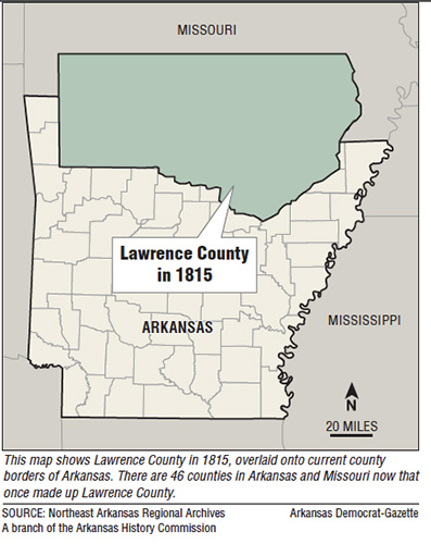 Figure 4. Map of Arkansas showing Lawrence County, Arkansas in 1815. (map from Arkansas Democrat-Gazette)