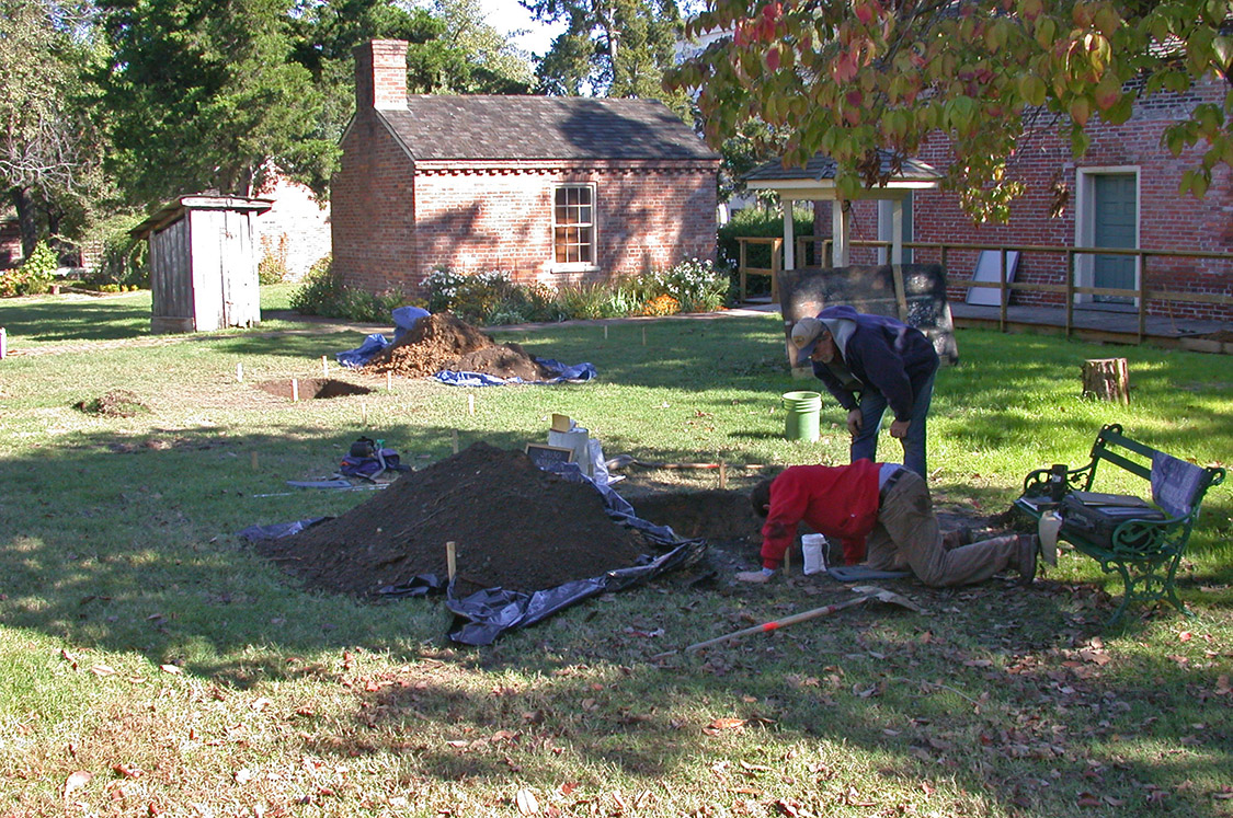 Figure 2. Excavations of the kitchen at the Brownlee House in 2004.
