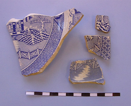 Blue transfer printed ceramics recovered from the Brownlee House in downtown Little Rock.