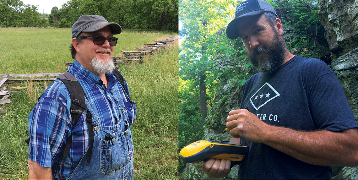 LEFT: Jared Pebworth at Pea Ridge National Military Park. RIGHT: Michael Evans mapping during an initial site visit to a bluff shelter in Washington County.
