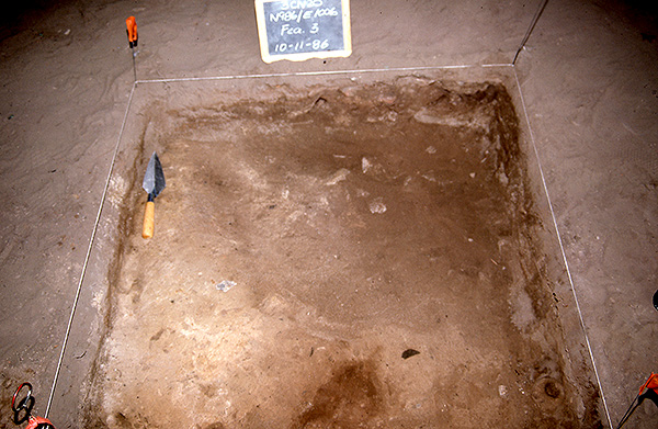 Figure 2: 1986 Excavations of Rockhouse Cave showing the pitted stone in situ on living floor-Feature 3.