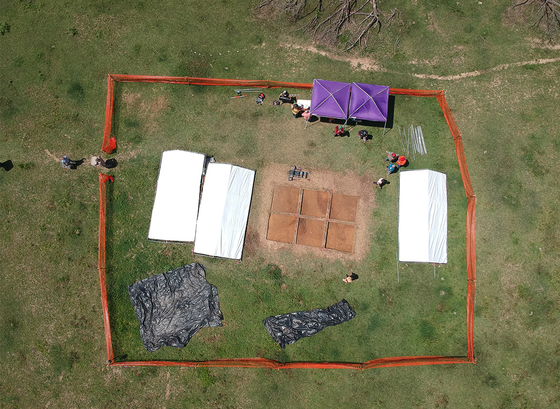 Drone view of Mound E, where the Basic Excavation class was conducted