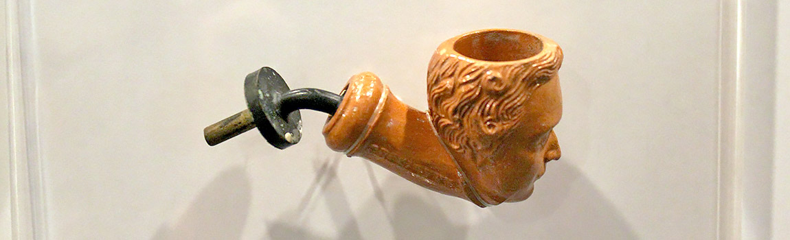Figure 1. Side view of the Franklin Pierce anthropomorphic pipe on exhibit at Arkansas Post National Memorial (Courtesy Erik Ditzler, Arkansas Post).