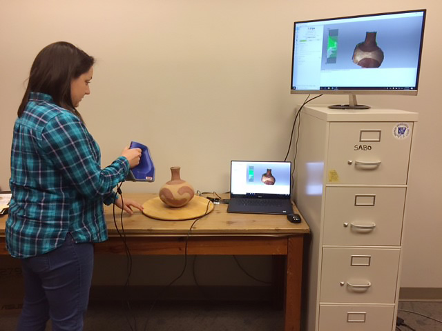 Select artifacts from the ANCRC cataloging project are scanned in our new 3D lab for online presentation and study.