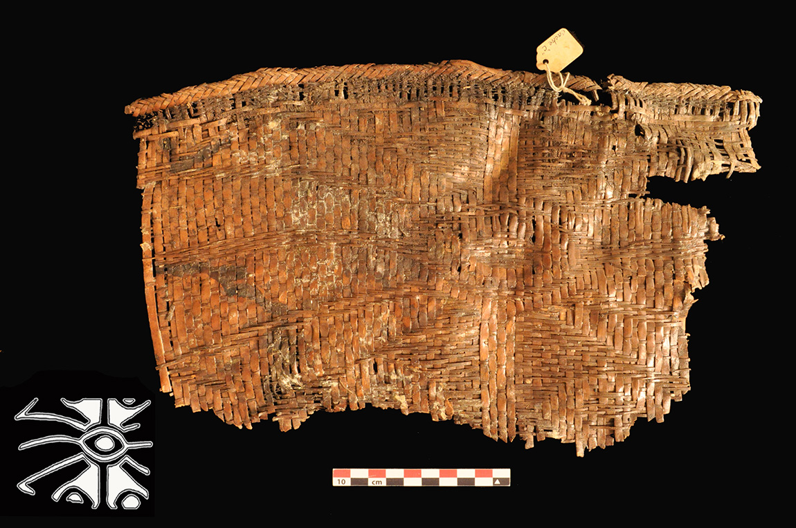 Cobb Cave rivercane basket with woven spider motif design (UA Museum accession no. 68-733-6). ARAS photo and inset drawing by Elizabeth Horton.
