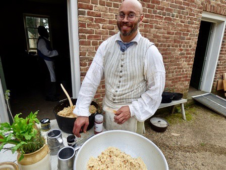 Behind the Big House's cooking demonstration and living history program during Archeology Month 2018. Photo by Rachel Patton.