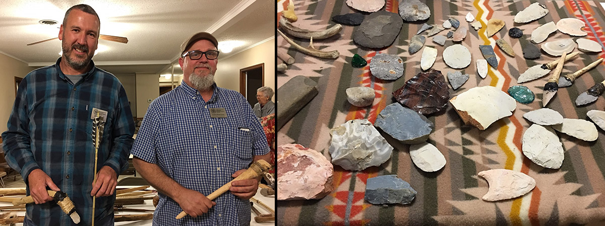 Mike Evans and Jared Pebworth display tools and chipped lithics and demonstrate how they were made and used at the Searcy County Historical Society Meeting. Photos by James Johnston.