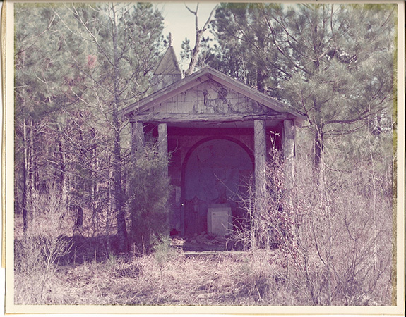 1970s photograph of the grotto, or chapel, the PoWs built out of scrap materials from around the camp. Courtesy of the Drew County Archives.