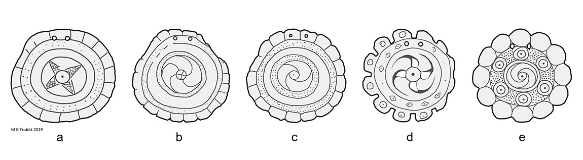 Figure 3. Shell gorget designs from Caddo sites.