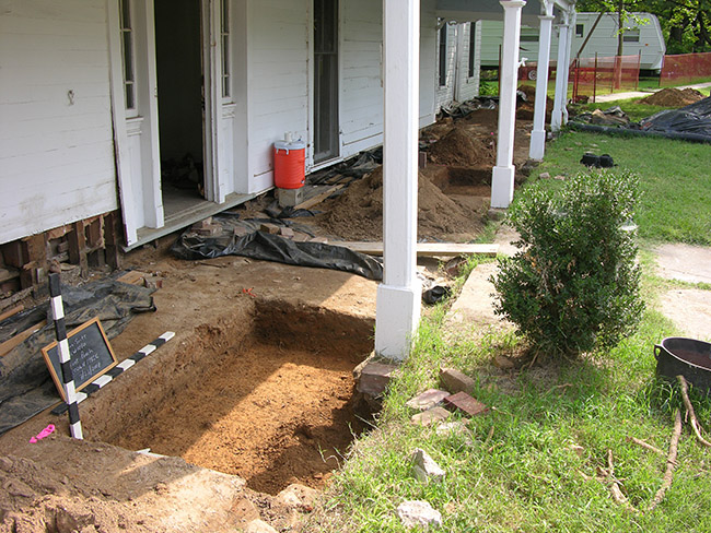 Excavations under the front porch.