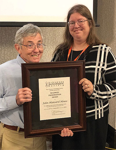 Dr. John House was presented with the McGimsey Preservation Award in 2018 for his lifetime of service to Arkansas archeology.