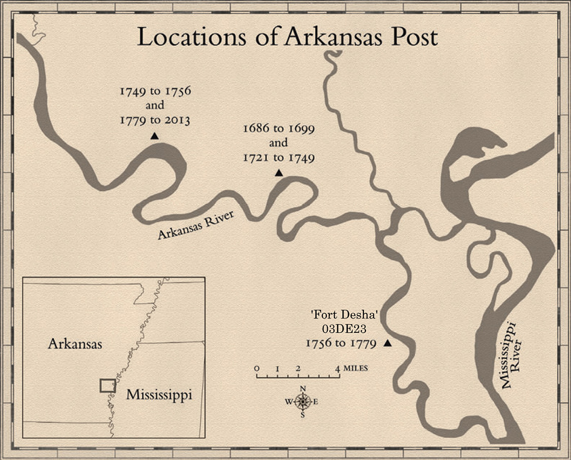 "Map drawn by Joseph Swain and originally published in The Arkansas Post of Louisiana (2017) by Morris S. Arnold, University of Arkansas Press, Fayetteville. Used with permission of the author. The ""Fort Desha"" site name and number have been added."