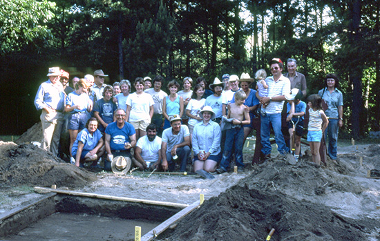Group photo from the 1984 Society Dig at the Martin site (3HE92). Ann is standing at far right.