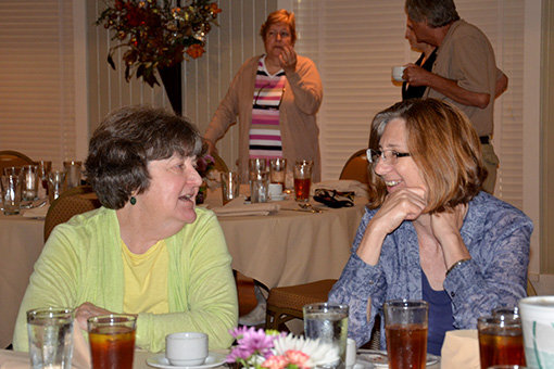 Ann Early and Mary Beth Trubitt at Skip Stewart-Abernathy's retirement party in 2015.