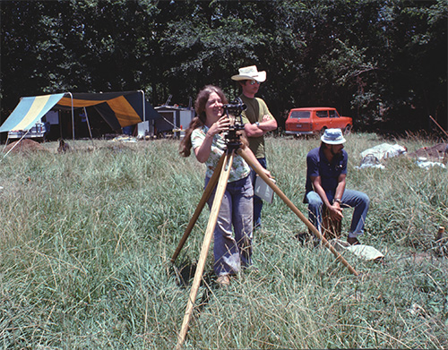 Ann Early with Mark Raab and Bernie McClurken at Standridge during the 1976 Society Dig.