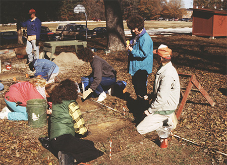 Ann (standing at right) at the J.E.M. Barkman House (3CL450) test excavations with Marvin Jeter and crew in 1993.