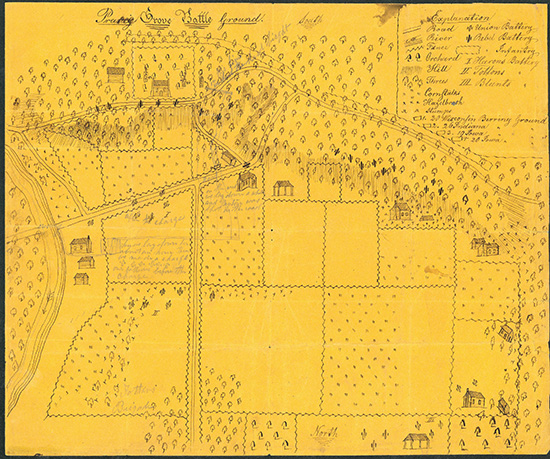 Map of the Prairie Grove Battlefield drawn by Union Solider D.B. Arthur, 1862. Note that North is to the bottom of the map. Image Source: NPS/CAST, Battle of Prairie Grove website.