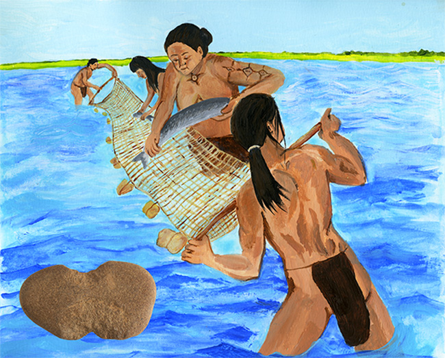 Figure 3. Artist reconstruction of Native American net fishing. Illustration by Rach Tebbetts, ARAS