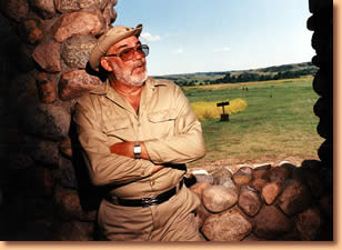Dr. W. Raymond Wood at the Fort Clark Historic Site, North Dakota 2001. Photo: University of Missouri
