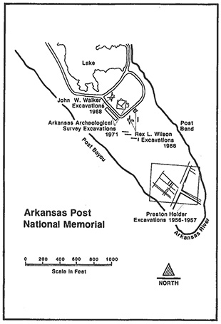 Figure 4. Map of excavation areas at Arkansas Post (from Walthall 1991b:101).