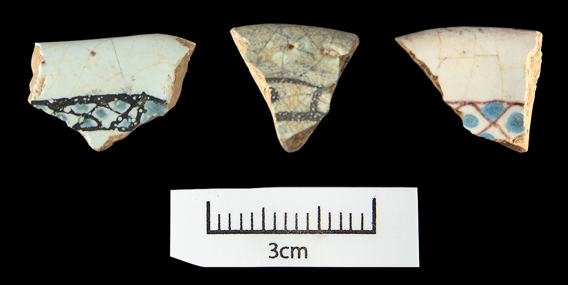Figure 1. Rouen Blue on White rim sherds excavated at Arkansas Post in 1956–1957.