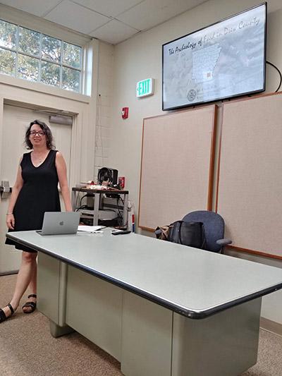 Dr. Barnes before a presentation at Arkansas Tech University.