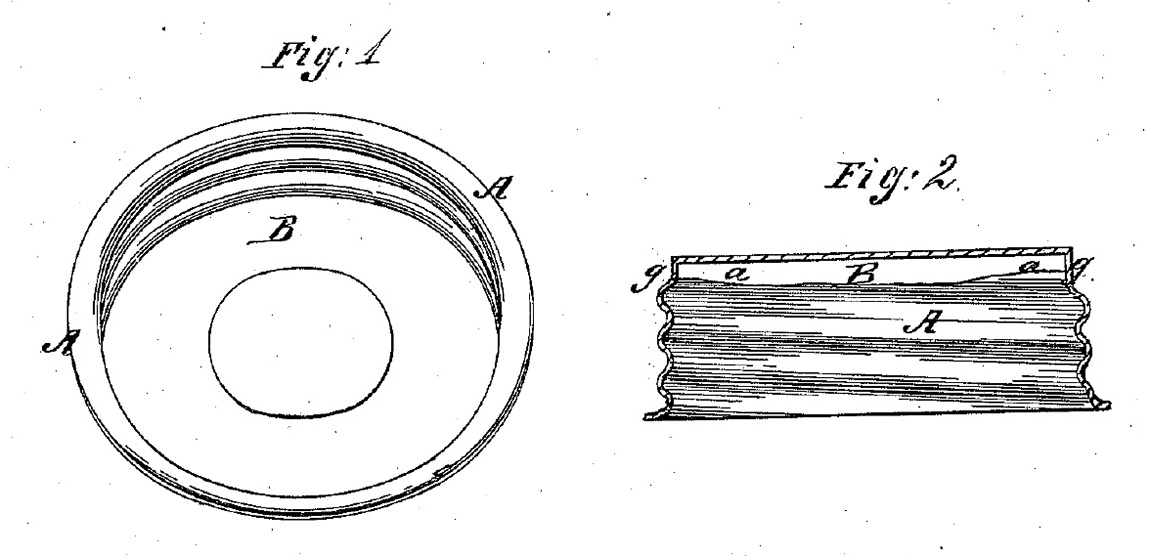 Figure 2. Boyd's original sketches of the glass liner and zinc cap from his 1869 patent where A represents the zinc cap and B the inset opaque glass liner