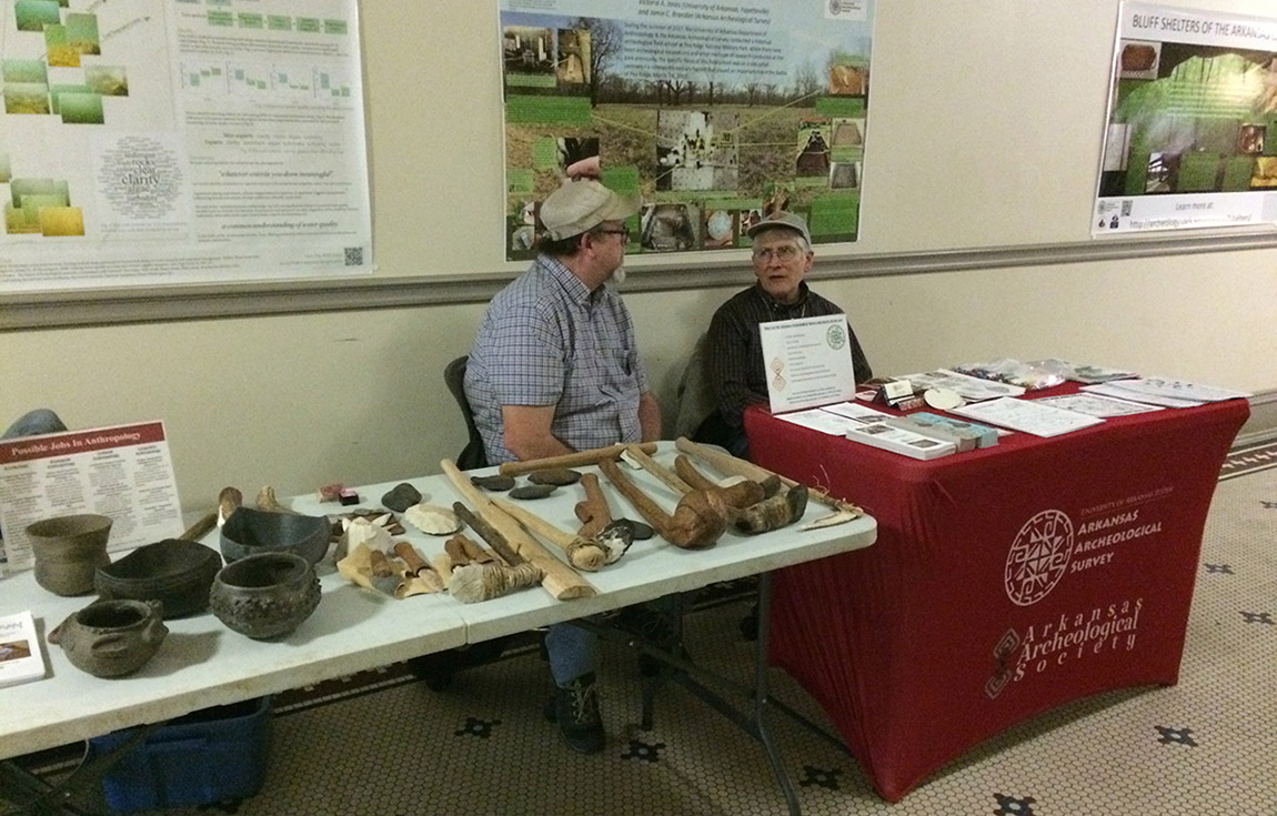 Jared Pebworth and George Sabo at the University of Arkansas-Fayetteville's Anthropology Open House in February, 2020.
